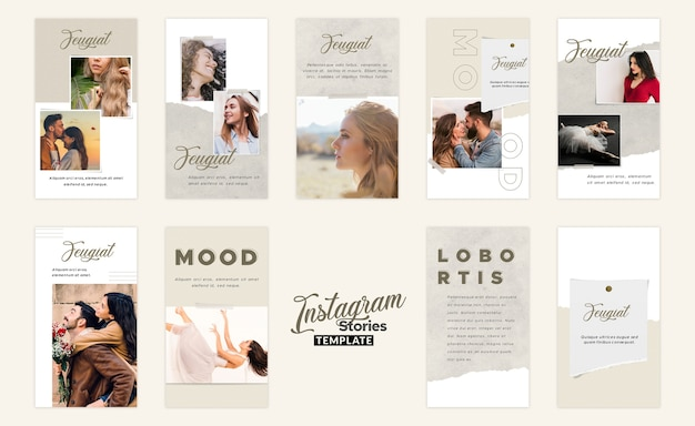 Modelo do moodboard de histórias do instagram Psd Premium