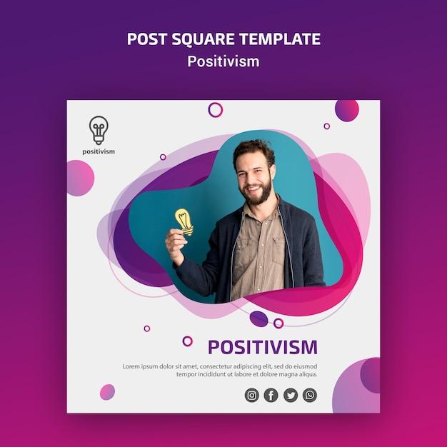 Modelo do quadrado do post de conceito de positivismo Psd grátis
