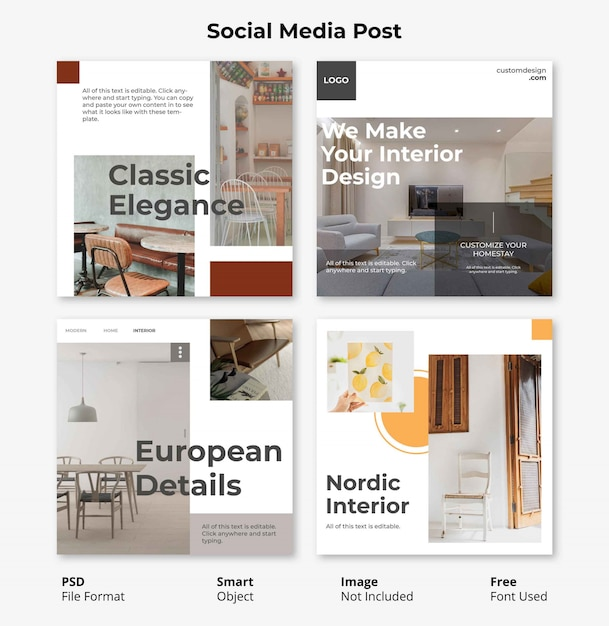 Modelo editável mídia social minimalista post banner Psd Premium