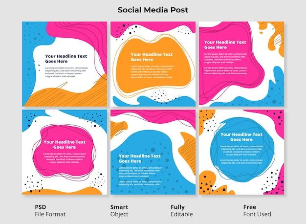 Modelo editável social post banner design minimalista forma abstrata simples e colorida com forma fluida e líquida Psd Premium