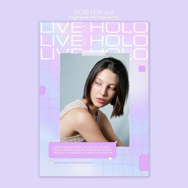 Modelo feminino de folheto holográfico digitalismo Psd grátis