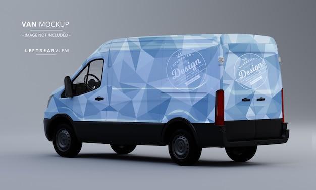 Modelo genérico de carro utilitário mock up vista traseira esquerda van mockup Psd Premium