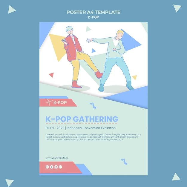 Modelo ilustrado de folheto k-pop Psd grátis