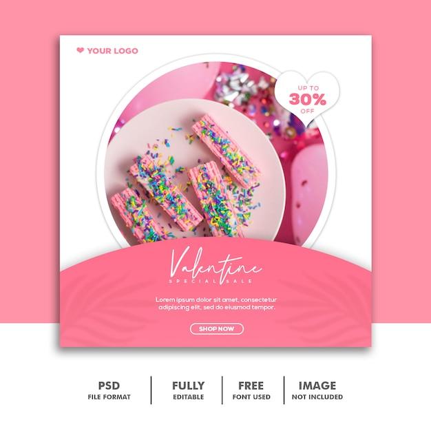 Modelo instagram post comida bolo rosa Psd Premium