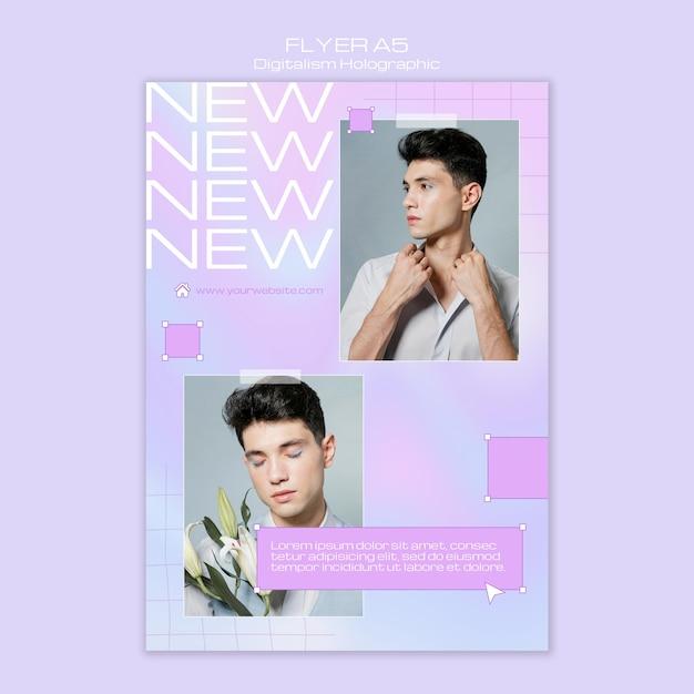 Modelo masculino de digitalismo holográfico flyer template Psd grátis