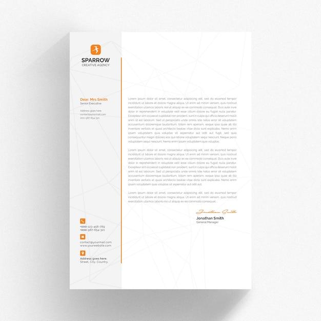 Modelo mínimo de papel timbrado com detalhes laranja Psd Premium