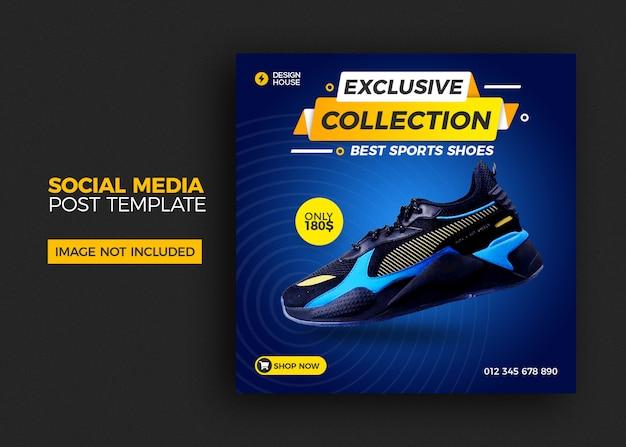 Modelo quadrado com venda de sapatos para post de mídia social Psd Premium