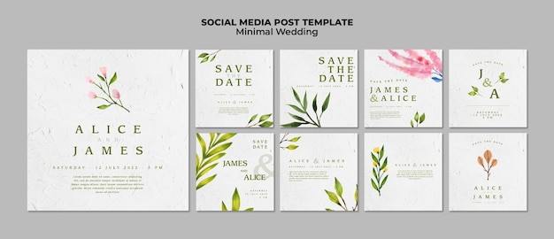 Modelos de mídia social de casamento criativo Psd grátis