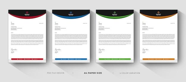 Modelos de papel timbrado - design profissional com variação de cores Psd Premium