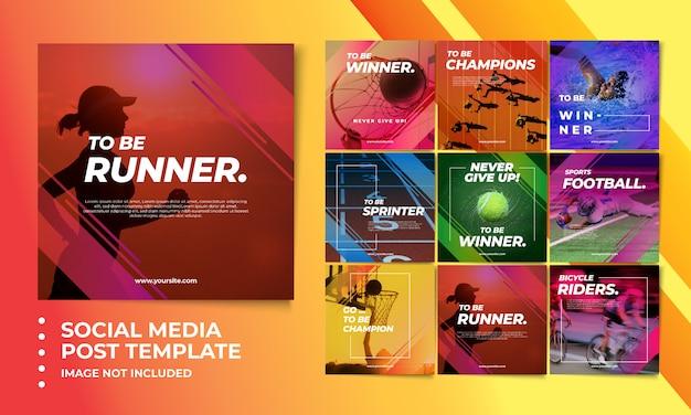 Modelos de postagem de mídia social esporte colorido Psd Premium