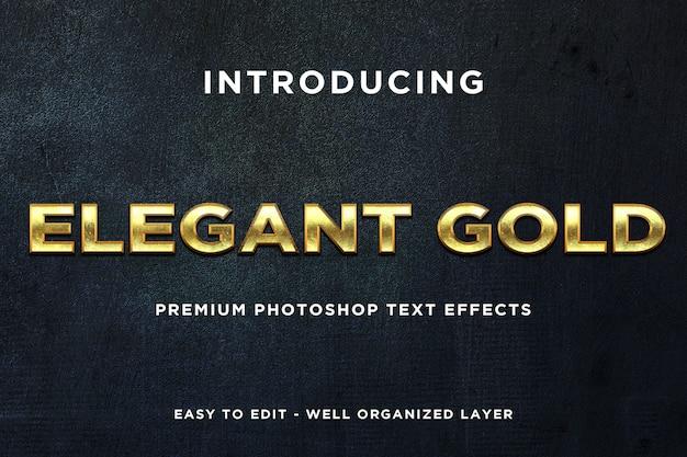 Modelos de texto elegantes em estilo ouro Psd Premium