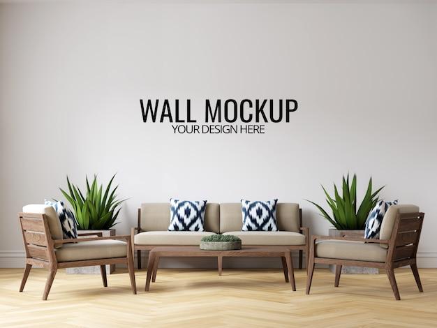 Modern interior sala parede fundo mockup com móveis e decoração Psd Premium