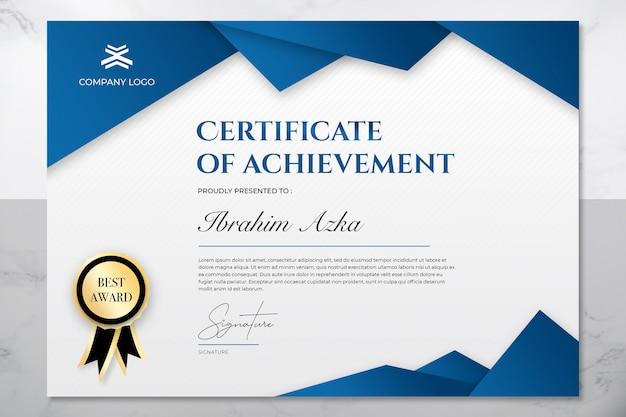 Moderno certificado azul e ouro de modelo de conquista Psd Premium