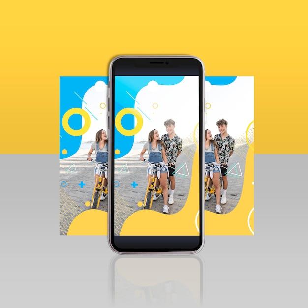 Moderno, instagram, poste, modelo, com, smartphone Psd grátis