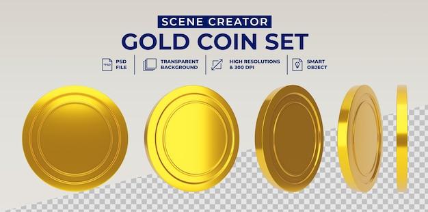 Moeda de ouro definida em renderização 3d isolada Psd Premium