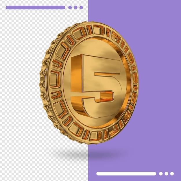 Moeda de ouro e renderização 3d número 5 Psd Premium