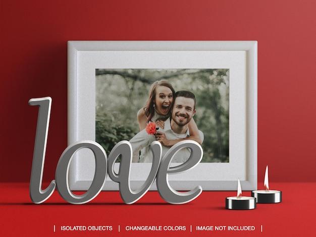 Moldura de modelo de cartão de foto e criador de cena com velas e decoração de dia dos namorados Psd Premium