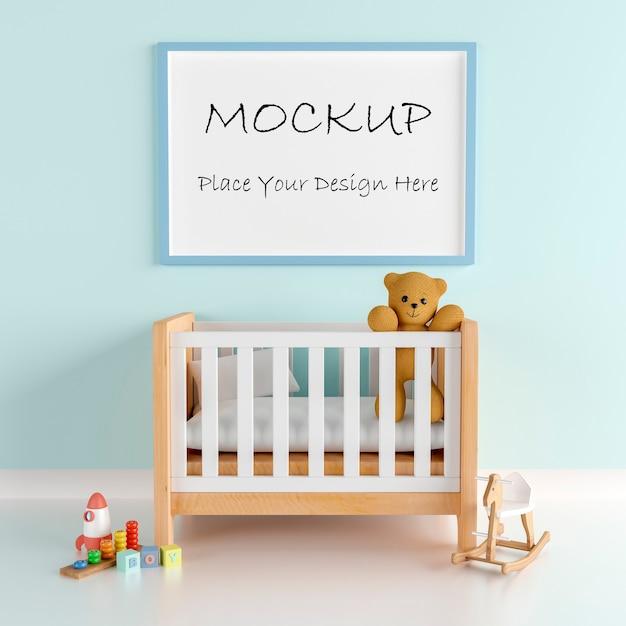 Moldura de pôster de maquete com fofo urso de pelúcia para um menino bebê chuveiro renderização 3d Psd Premium