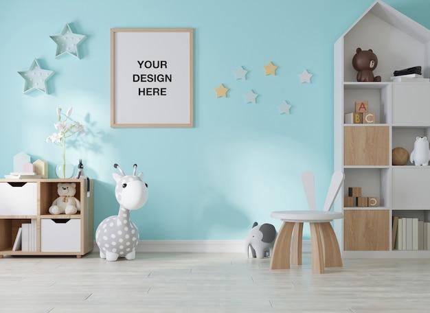 Moldura de pôster de maquete em quarto infantil Psd Premium