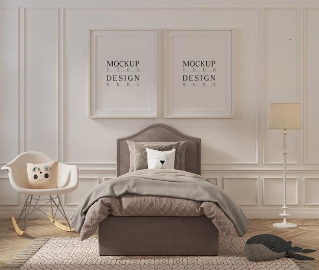 Moldura de pôster linda maquete em design de quarto infantil Psd Premium