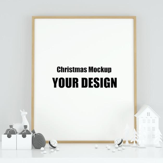 Moldura de pôster mock up no interior escandinavo decoração de natal e inverno Psd Premium