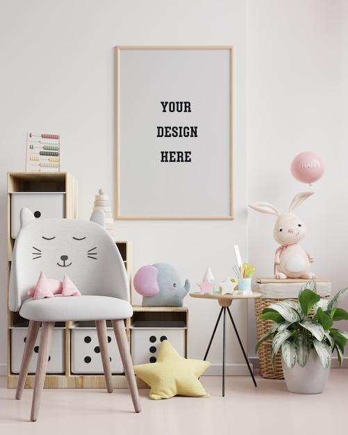Moldura de pôster simulada em quarto infantil, quarto infantil, maquete de berçário, renderização 3d Psd Premium