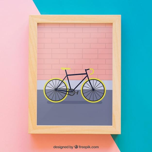 Moldura de quadros com bicicleta Psd grátis