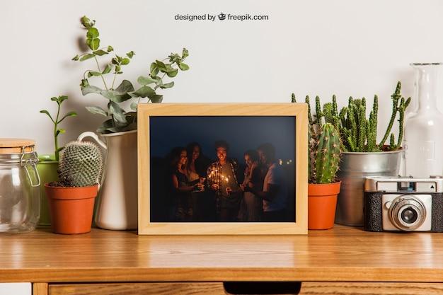 Moldura de quadros com muitas plantas Psd grátis