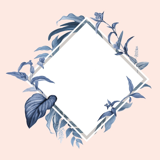 Moldura vazia com design de folhas azuis Psd grátis
