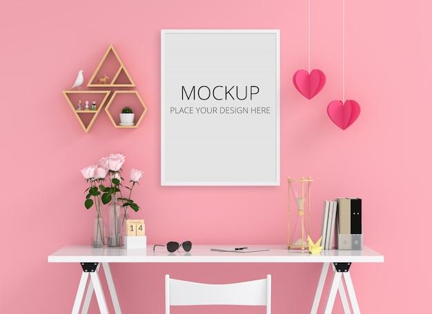 Molduras para fotos em branco para maquete na parede, conceito de dia dos namorados Psd Premium