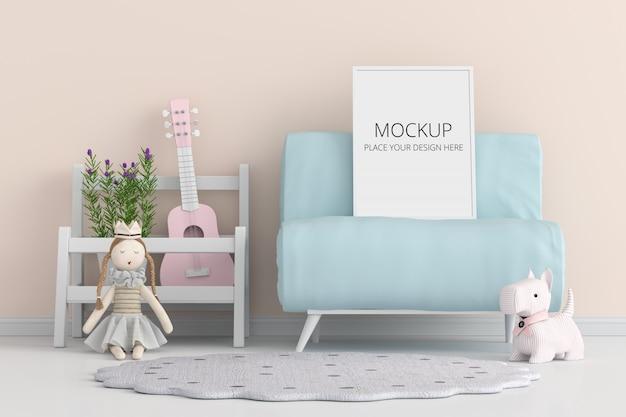 Molduras para fotos em branco para maquete no sofá azul Psd Premium