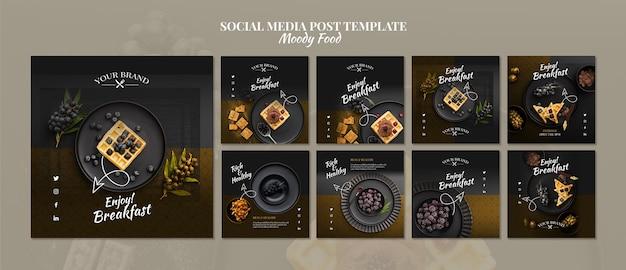 Moody food restaurant post de mídia social Psd grátis