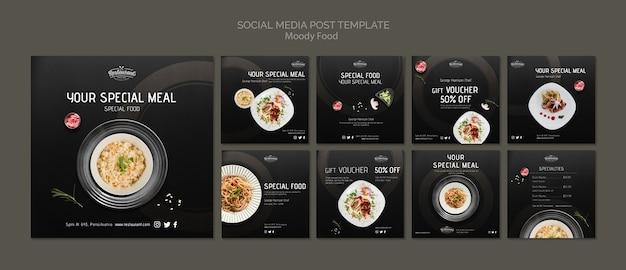 Moody food restaurant social media post template template mock-up Psd grátis