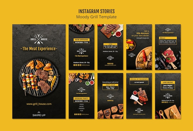 Moody grill instagram stories template Psd grátis