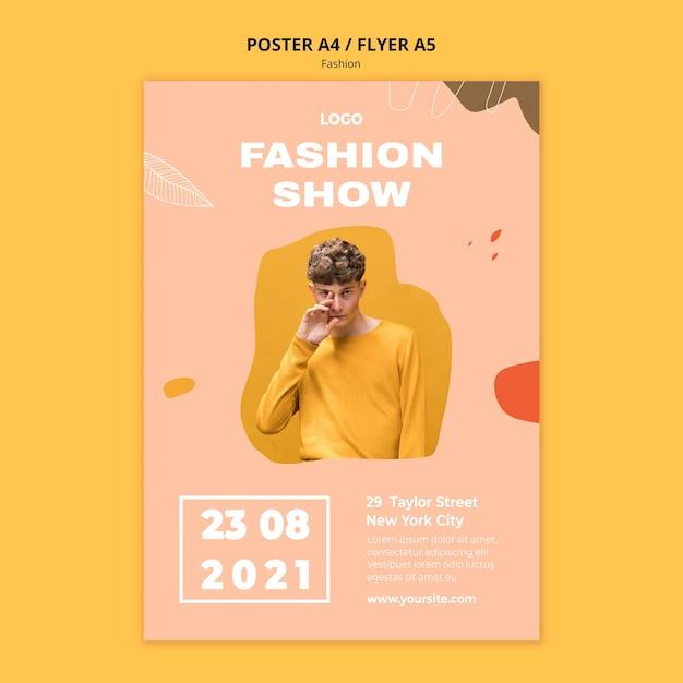 Mostrar modelo de pôster de moda masculina Psd grátis