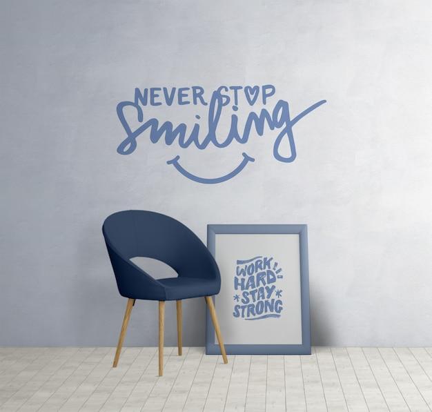 Móveis minimalistas com citações motivacionais Psd grátis