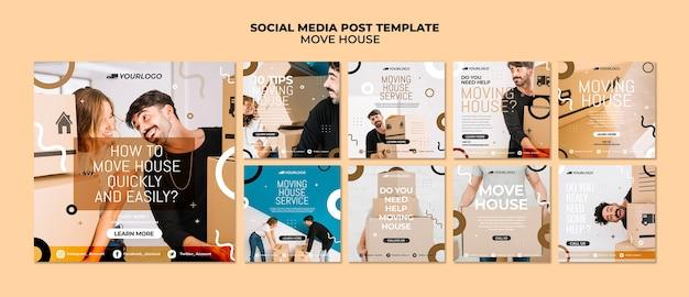 Mover casa post de mídia social Psd grátis