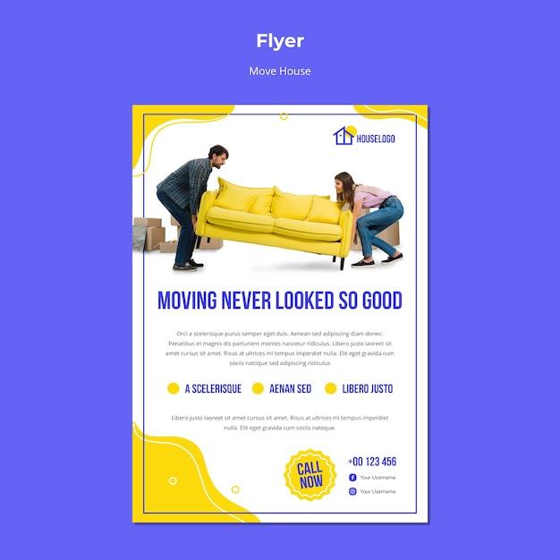 Mover nunca pareceu tão bom panfleto Psd grátis