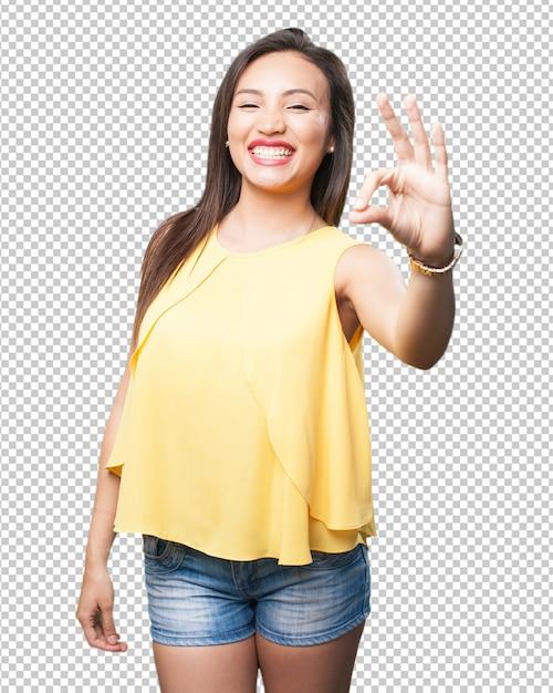 Mulher asian, fazendo, aprovação, gesto Psd Premium