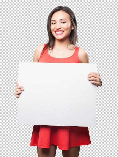 Mulher asian, segurando, um, bandeira Psd Premium