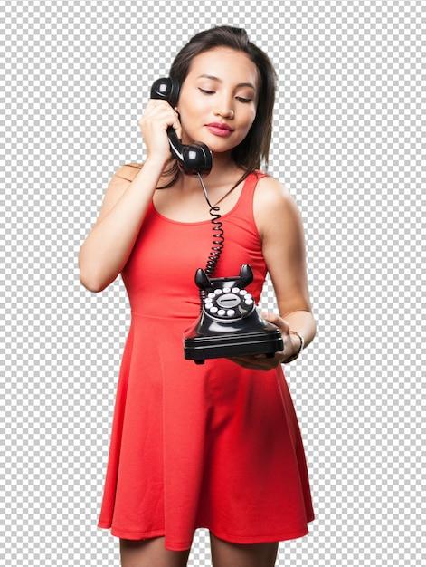 Mulher asiática, falando telefone Psd Premium