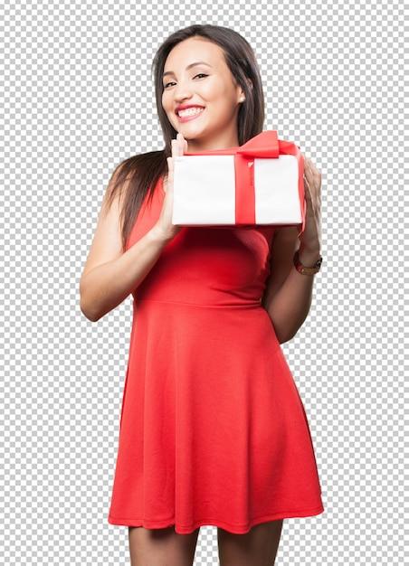Mulher asiática, segurando um presente Psd Premium
