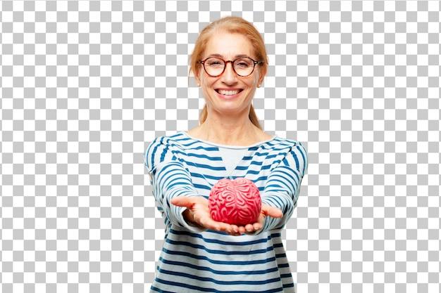 Mulher bonita sênior com um modelo de cérebro Psd Premium