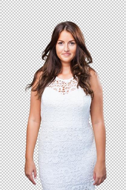 Mulher bonita sorrindo sobre fundo branco Psd Premium