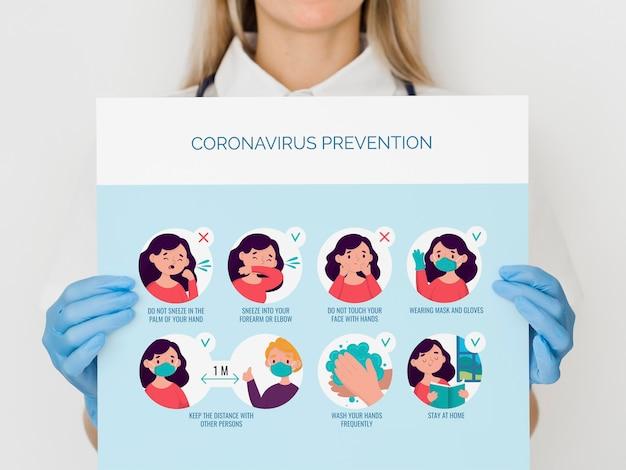 Mulher de close-up com prevenção de coronavírus Psd grátis