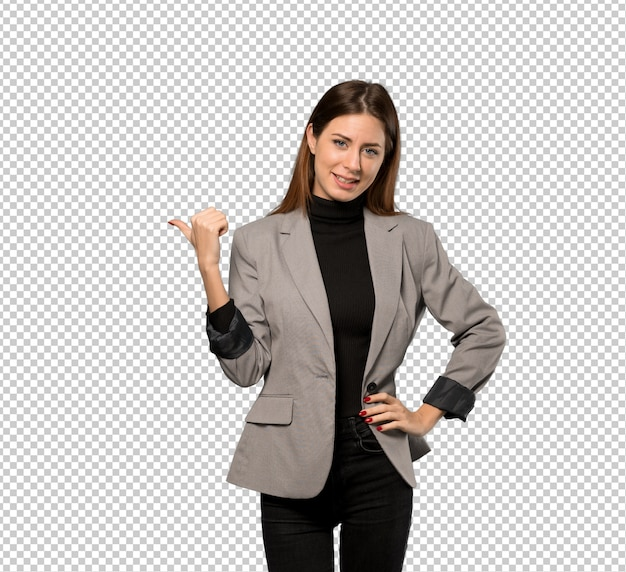 Mulher de negócios, apontando para o lado para apresentar um produto Psd Premium