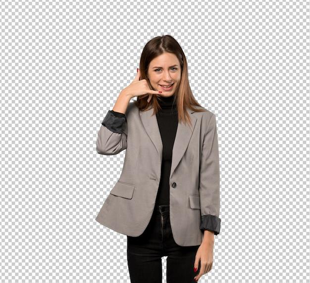 Mulher de negócios, fazendo o gesto do telefone. me ligue de volta Psd Premium