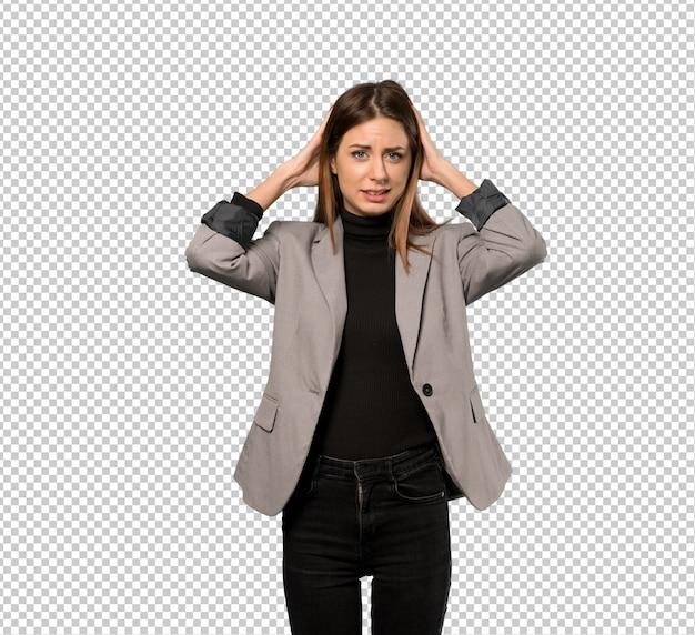 Mulher de negócios frustrado e leva as mãos na cabeça Psd Premium