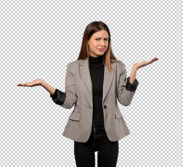 Mulher de negócios infeliz porque não entende algo Psd Premium