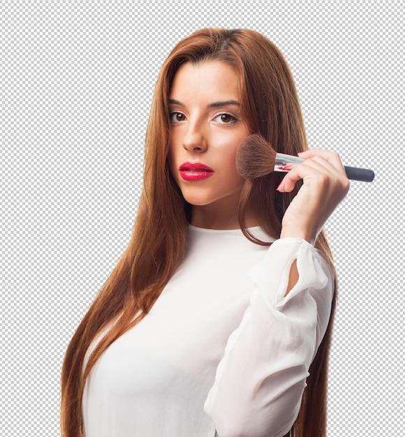Mulher elegante com uma escova Psd Premium